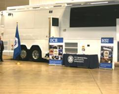 Reporters toured the ICE HSI Mobile Processing Vehicle which is equipped with four booking stations where ICE HSI agents can interview and process subjects