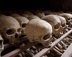 Photos of skulls taken at the Nyamata Genocide Memorial