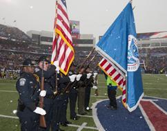 ERO Buffalo Honor Guard presents colors for NFL game in Buffalo