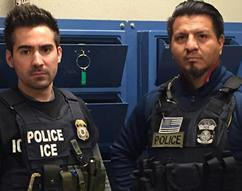 SLC AFOD Michael Bernacke (left) and SDDO Jhonny Benavides (correct spelling, right) in field office hold room after making Mobile Criminal Alien Team arrest.