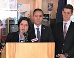 U.S. Attorney for Vermont Christina Nolan (at podium) announces results of the major local, state, federal anti-narcotics operation while (left to right) Jason Molina, Acting Special Agent in Charge, HSI Boston  and Assistant U.S.Attorney  Jonathan Ophardt listen.